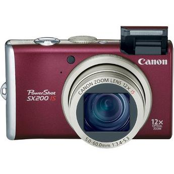 Canon PowerShot SX200 IS Digital Camera (Red)