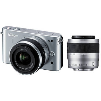 Nikon 1 J2 Mirrorless Digital Camera with 10-30mm & 30-110mm Lens (Silver)